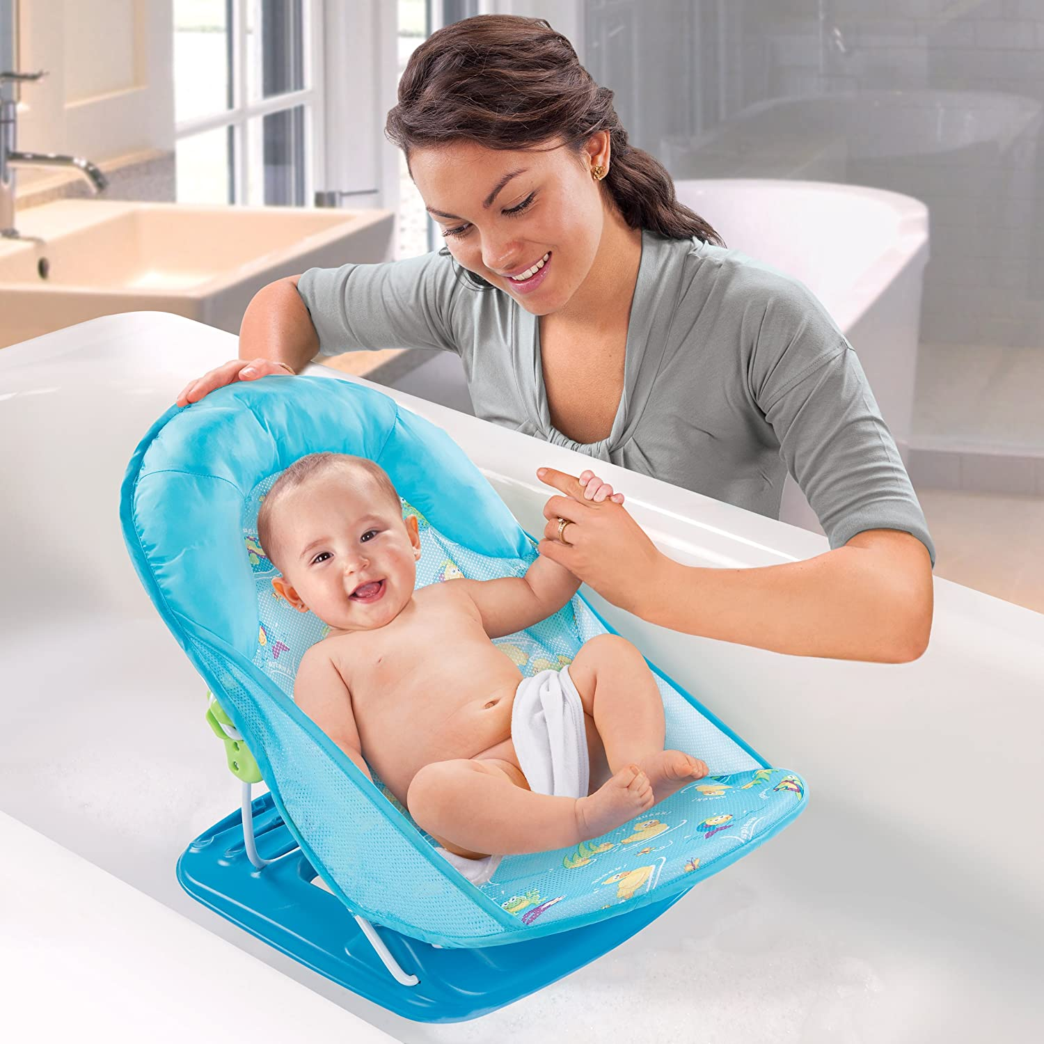 baby bath chair for tub unusual office chairs uk summer infant bather seat blue adjustable