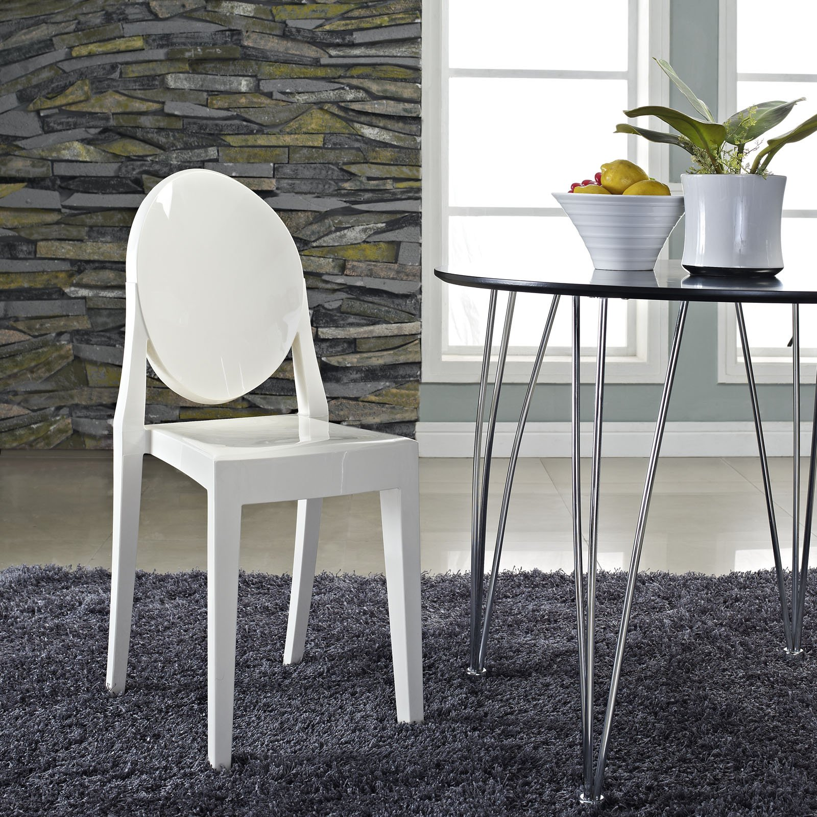 victoria ghost chair canopy lawn chairs walmart lexmod philippe starck style in white