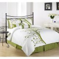 Green tree on white comforter set bed in a bag for queen size bedding