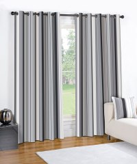 MODERN STRIPED WENTWORTH CHARCOAL GREY READY MADE LINED ...
