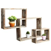 Country Rustic 3 Tier Floating Box Shelves, Decorative