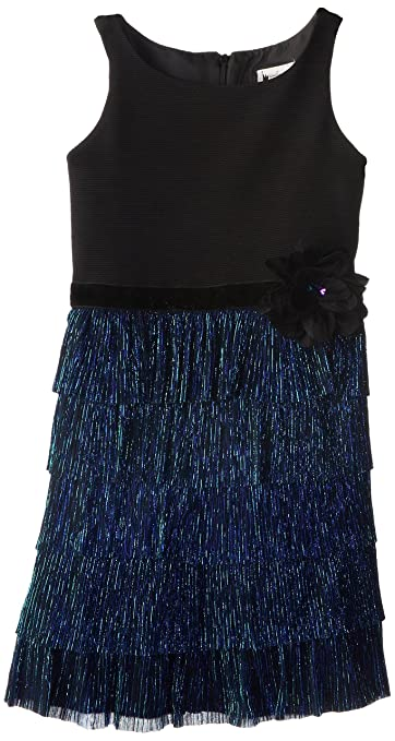 Emily West Big Girls' Dress with Tiered Skirt, Navy, 10