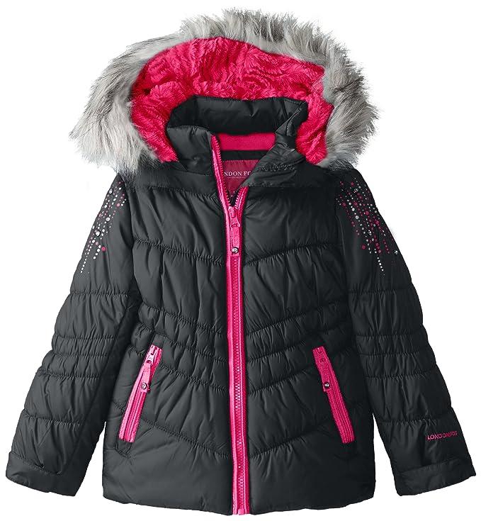 3b3b5ea41 London Fog Little Girls' Hooded Puffer Coat with Rhinestones, Black, 4