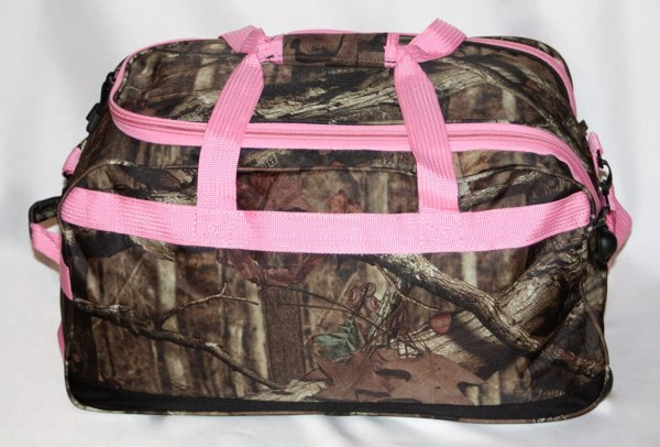 "Mossy Oak Pink Camouflage 22"""" Rolling Duffle Bag Carry"