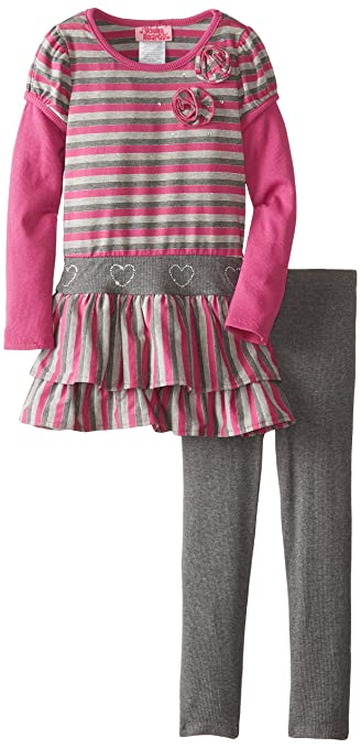 Young Hearts Little Girls' 2 Piece Stripe Rosette Hatchi Legging Set, Purple, 4