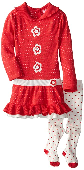 Young Hearts Little Girls' 2 Piece Flower Sweater Dress W Tights, Coral, 2T