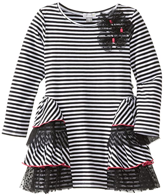 Petit Lem Little Girls' Glamorous Stripe Long Sleeve Knit Dress, Black Stripe, 4