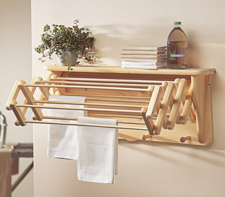 Wooden Laundry Rack Drying Shelf Wardrobe Wall Folding