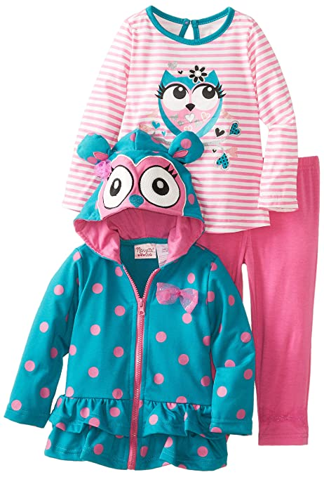 Nannette Little Girls' 3 Piece Owl Jacket Set