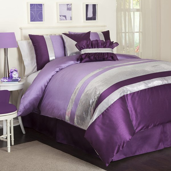 Purple and Silver Bedding Set