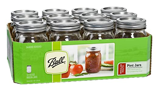 Ball Jar Mouth Pint Jars with Lids and Bands, Regular, Set of 12
