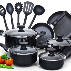 Kitchen Cookware Sets Design Template Cook N Home 15 Piece Non Stick Black Soft Handle