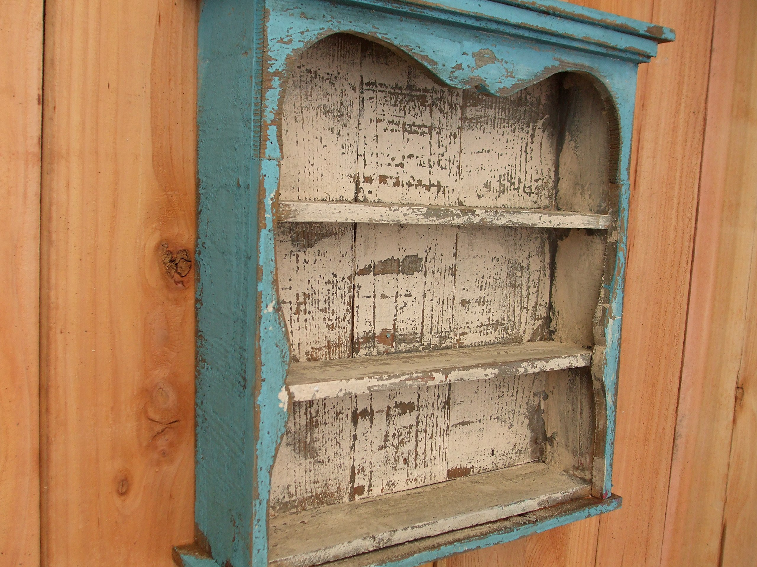 Shabby Chic Style Blue Wall Shelf Distressed Turquoise