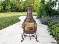 Outdoor Fire Pit Chiminea Cast Iron Fireplace Heater Wood ...