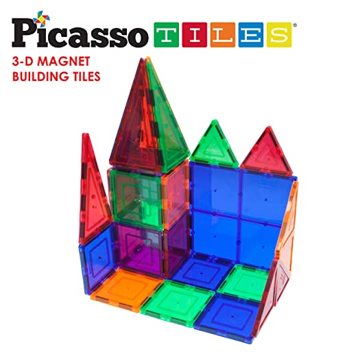 PicassoTiles® 100 piece set Magnet Building Tiles Clear 3D color Magnetic Building Blocks - Creativity beyond Imagination! - Educational, Inspirational, Conventional, and Recreational!""