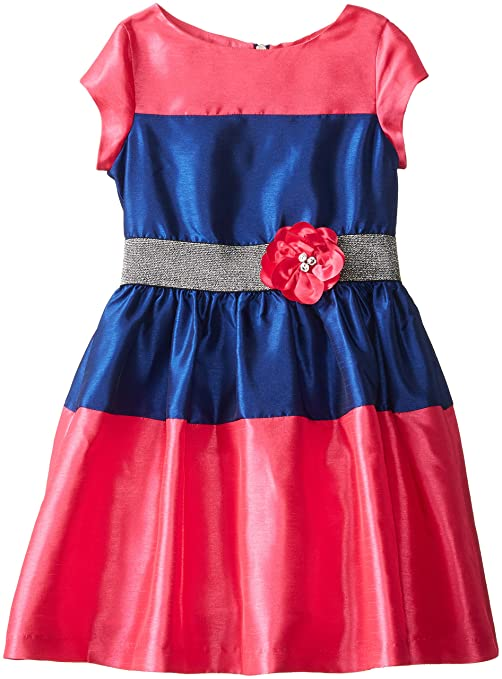 Us Angels Big Girls' Shantung Color Block Dress, Fuchsia/Navy, 10