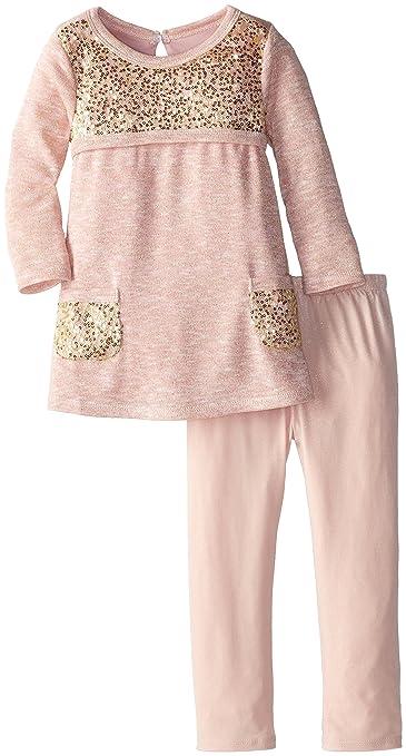 Bonnie Jean Little Girls' Sequin Mesh Trimed Knit Legging Set, Pink, 2T