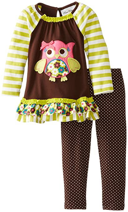 Rare Editions Little Girls' Owl Applique Legging Set