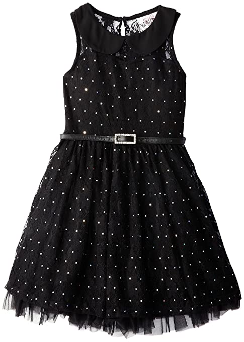 Beautees Little Girls' Solid Sleeveless with Peter Pan Collar, Black, 6X
