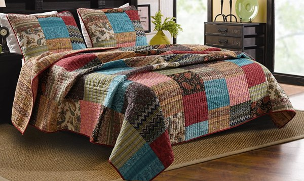 3pc Bohemian Quilt Set King Queen Size Greenland Home Cotton Fabric Patchwork