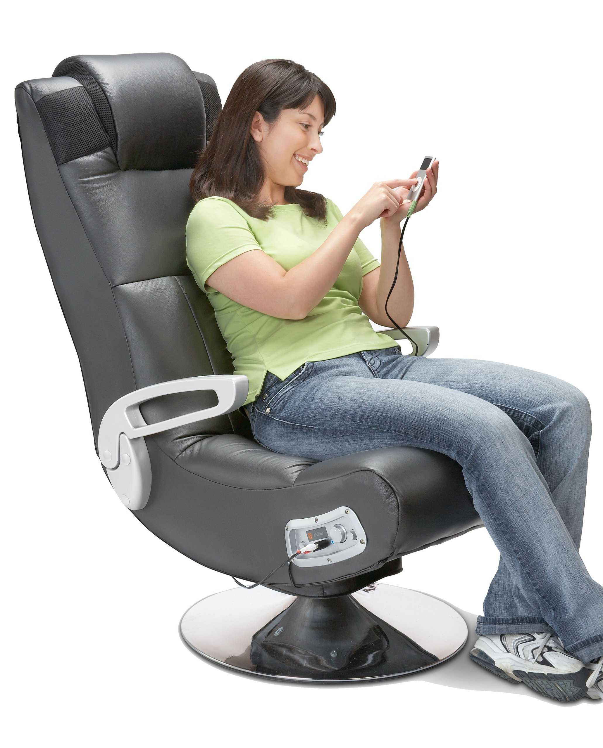 Video Games Chair X Rocker Pedestal Video Gaming Chair Wireless Black