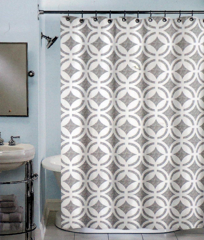 Peri Fabric Shower Curtain Gray and White  Merian 100