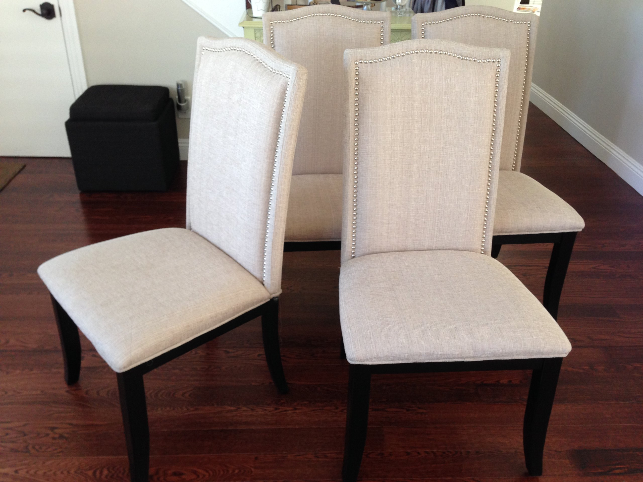 upholstered chair with nailhead trim accent and ottoman set of 2 beige fabric dining chairs