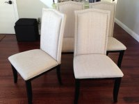 Set of 2 Upholstered Beige Fabric Dining Chairs with ...