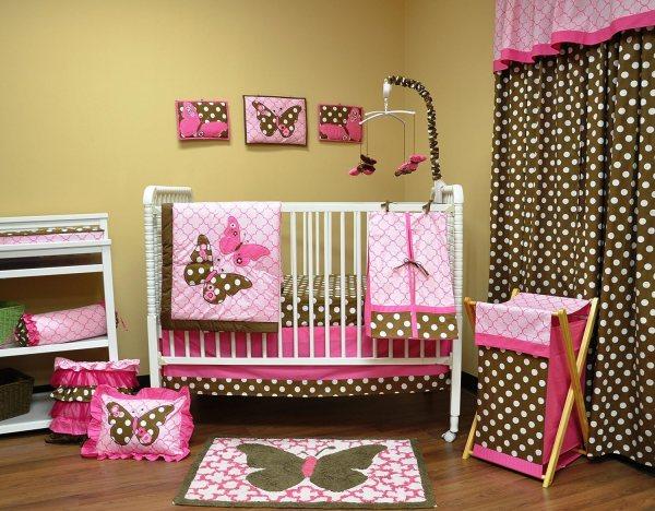 Baby Girl Butterfly Crib Bedding Set