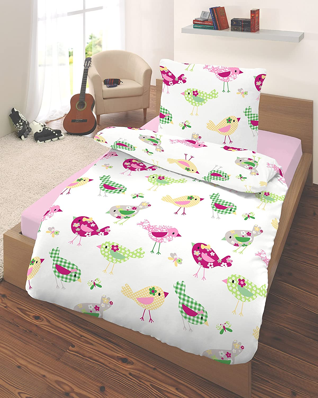 Bettwäsche Mädchen 135x200 Mako Satin Kinder Bettwäsche Elefanten