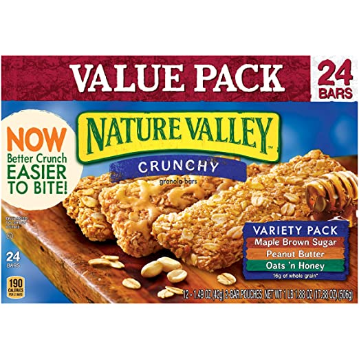 Nature Valley Crunchy Granola Bars, Variety Pack of Oats 'n Honey, Peanut Butter, and Maple Brown Sugar, 24 Count