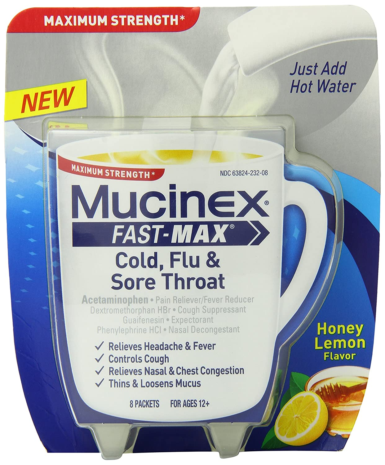 Mucinex Fast-Max Hot Drink Mix Medicine Cold Flu and ...