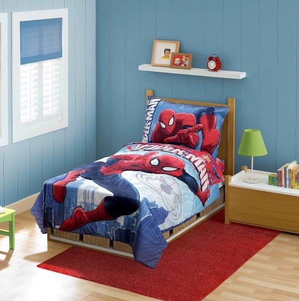 Spiderman Toddler Bedding Set Above City Kids Bedroom