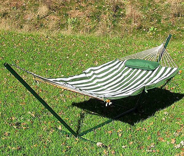 Sunnydaze Green and White Striped Rope Hammock with Stand, Pad and Pillow Review