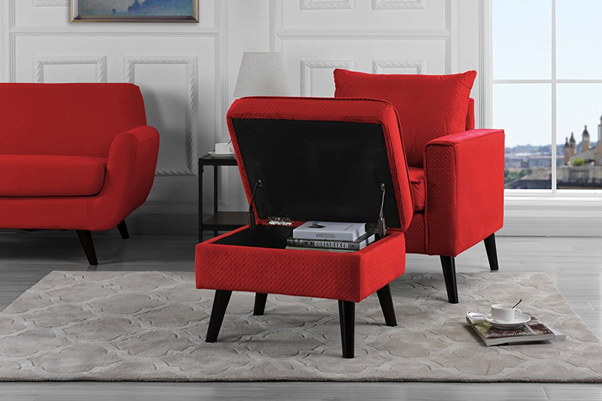 microfiber club chair with ottoman double high for twins mid century brush modern living room large accent footrest storage red
