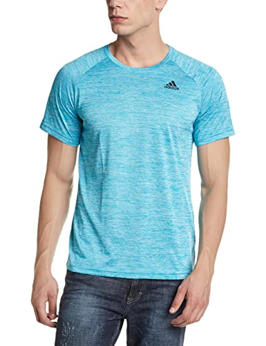 adidas Men's Round Neck Synthetic T-Shirt (4058025437994_CF0249_Large_Eneblu)