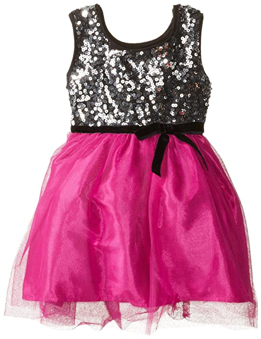 Pinky Pink Little Girls' Silver Sequin Babydoll, Magenta, 2T