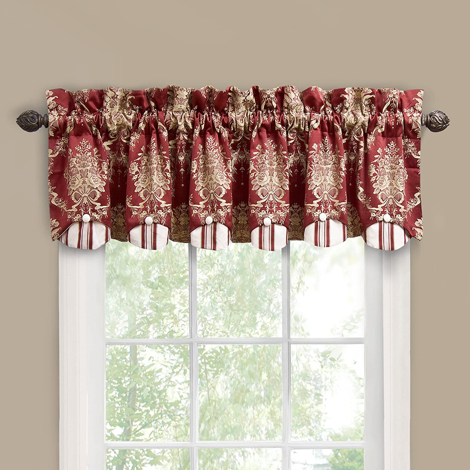 Waverly Rose Momento Window Valance Merlot New Free