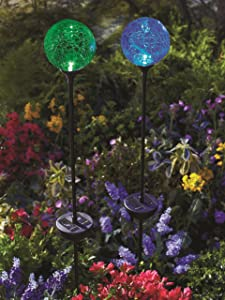 Moonrays 91251 Color Changing Solar Glass Ball Fixture Garden Stakes