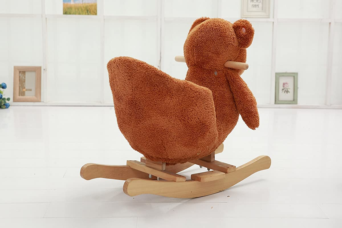 plush animal rocking chairs tall tables and danybaby ride on teddy bear