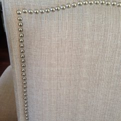 Sofas With Nailhead Trim Two Seat Recliner Sofa Set Of 2 Upholstered Beige Fabric Dining Chairs ...