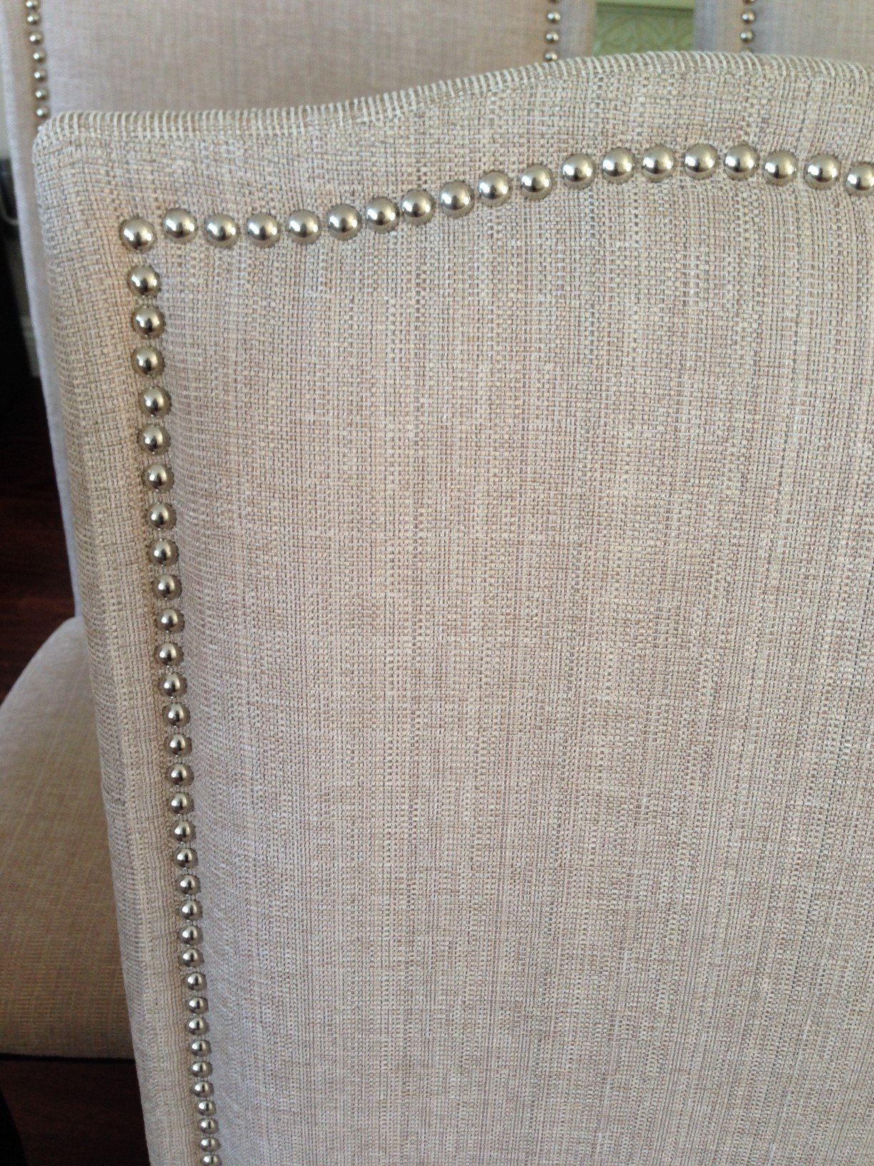 upholstered chair with nailhead trim dining room covers pattern set of 2 beige fabric chairs