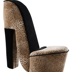 Leopard High Heel Chair Ficks Reed Kings Brand Design Fabric Accent Shoe