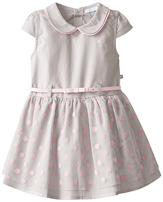 Petit Lem Little Girls' Miss Masquerade Short Sleeve Wovem Dress, Grey/Pink, 3