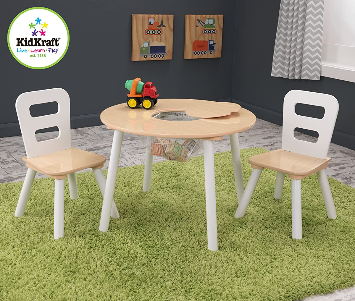 kidkraft white table and chairs stool chair for desk round 2 set natural