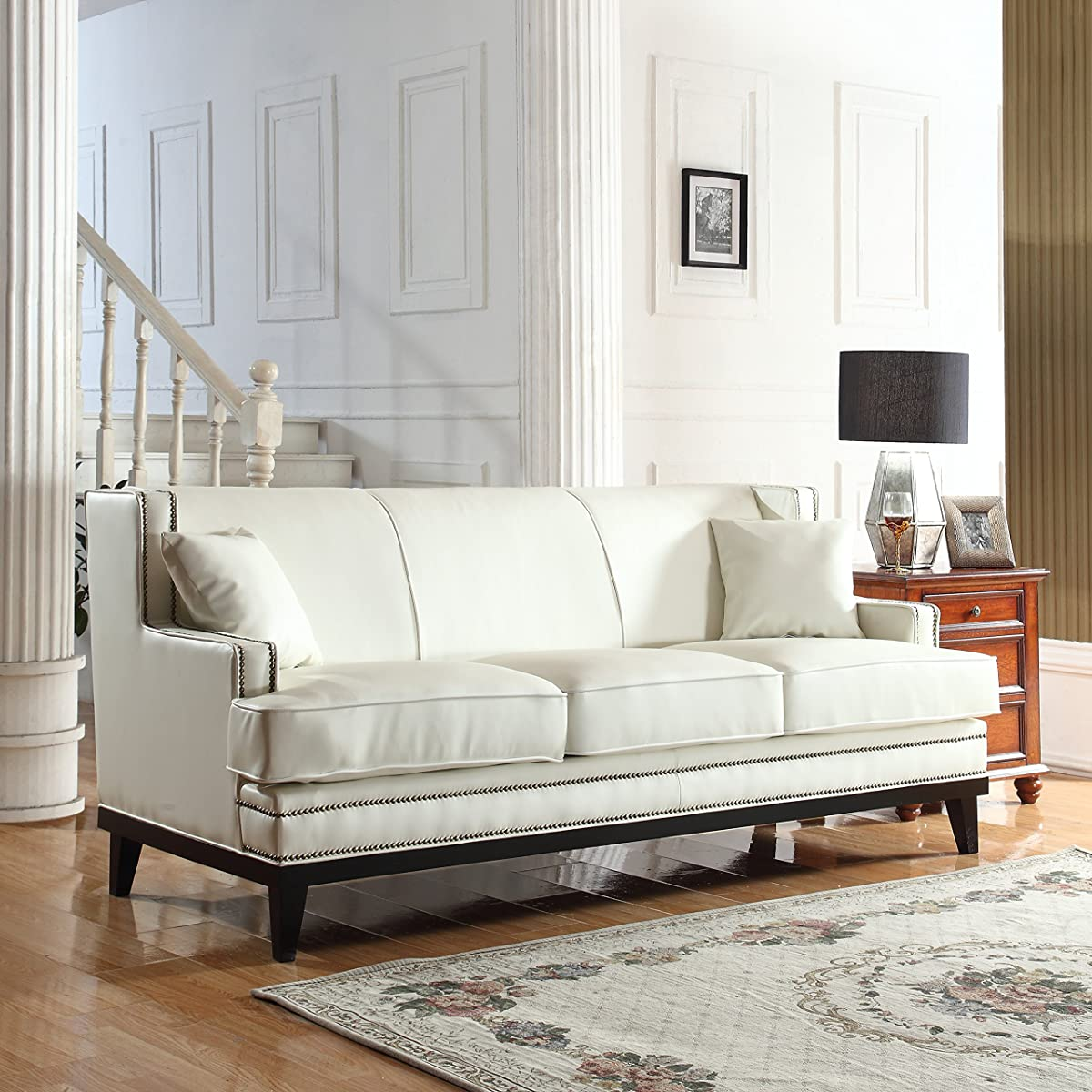 white leather sofa with nailheads sunbrella outdoor modern bonded nailhead trim detail