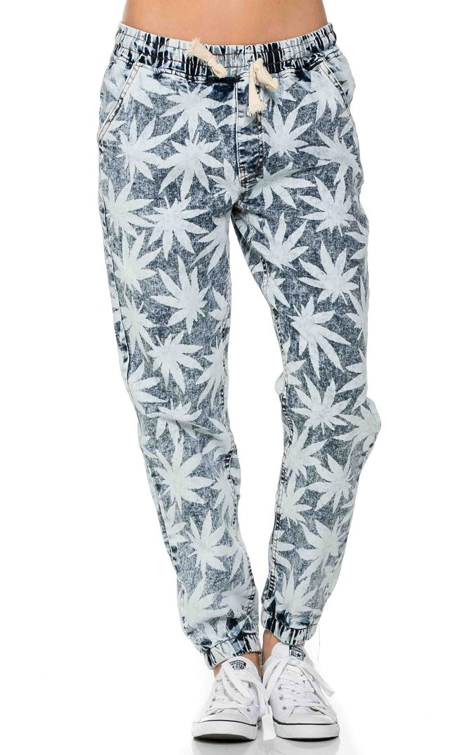 Weed Print Denim Jogger Pants Marijuana