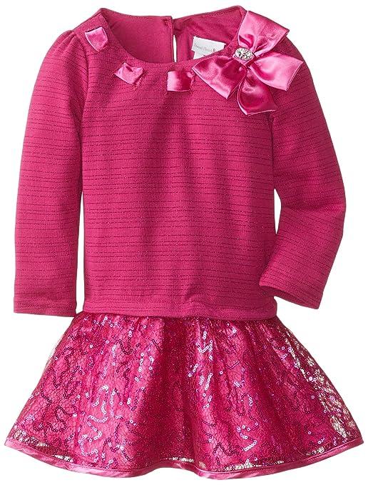 Sweetheart Rose Little Girls' Sparkle Knit Fashion Dress, Fuchsia, 6X