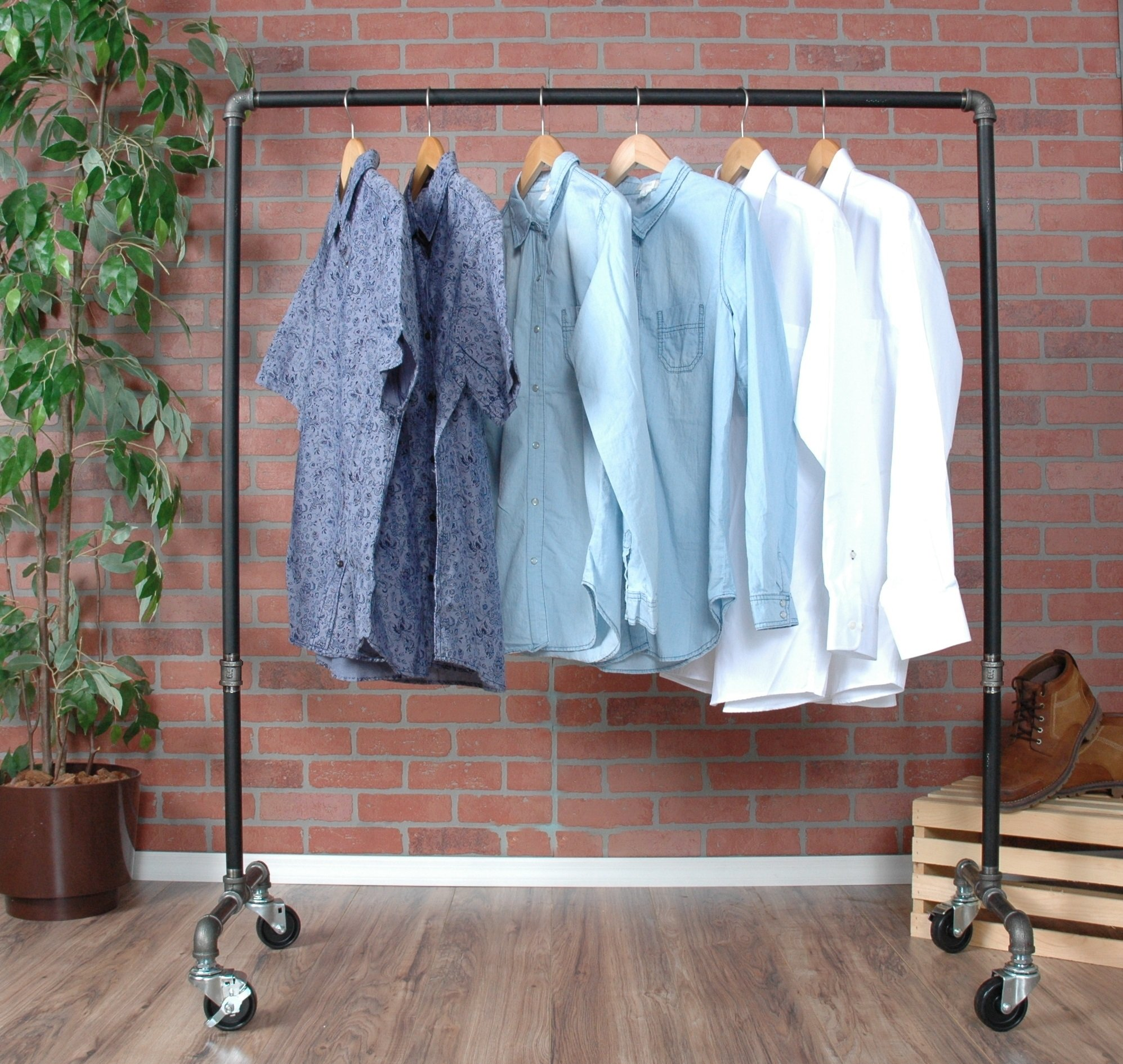 Industrial Pipe Rolling Clothing Rack by William Robert's