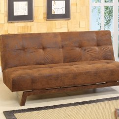 Rustic Sleeper Sofa Kids Leather Brown Fabric With Adjustable Back Klik Klak